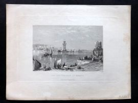 After Salmon 1840 Antique Print. The New Harbour at Rhodes. Greece